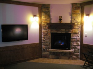 Flat Screen TV and Fireplace